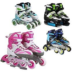 Patins à roulettes/glace 4 en 1 SportVida - Taille réglable - Pour enfants et adultes, vert, 31-34
