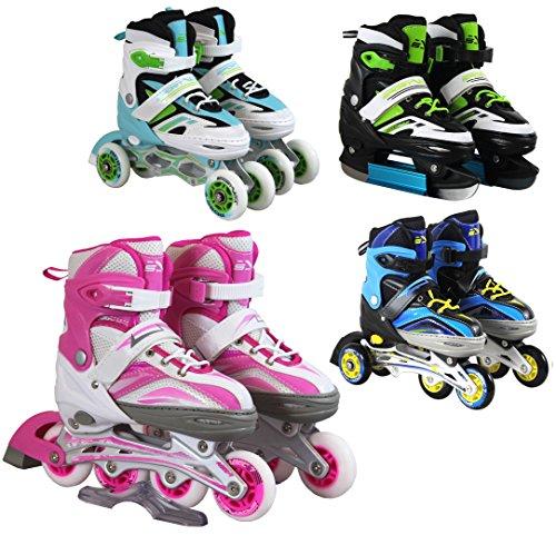 SportVida Inline Skates Kinder Erwachsene Inliner 4in1 | Verstellbare Schlittschuhe | Triskates Größenverstellbar ABEC7 Lager | Rollschuhe in Größen 31-42 | Pink Blau Grün Türkis (Blau, 31-34)