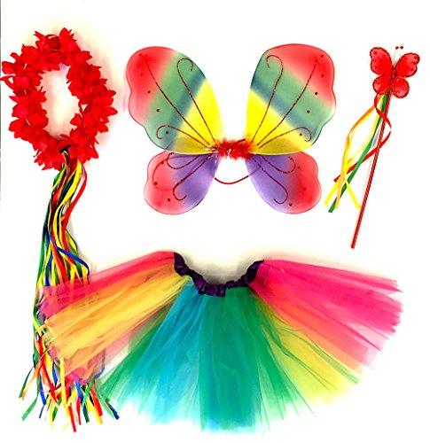 erling Kostüm für Mädchen - 4-teiliges Set - Feenflügel / Schmetterlingsflügel Verkleiden - Rot/Blau/Gelb Rainbow (Schmetterlings-kostüm Halloween)