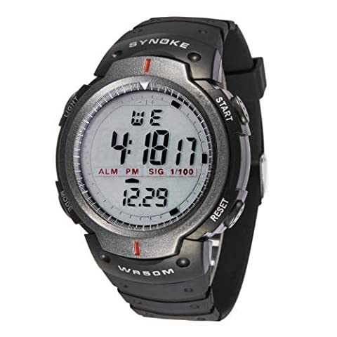 Digital Sports Watches - SYNOKE Digital Sports Watches Night Light Running Alarm Chronograph Stop watch 7IH6(Gray)