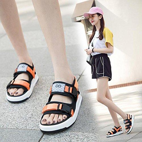 Sommer Strand Geschlossene Sandalen Klettverschluss Outdoor Wanderschuhe Ultraleicht Breathable Schuhe Flach Unisex Kinder Jungen Mädchen Orange