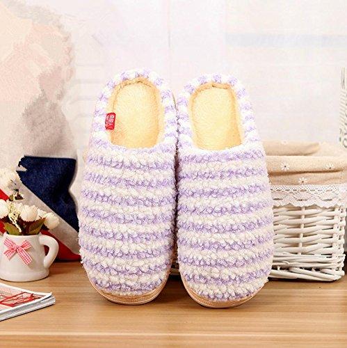 Pantofole da donna in Mhgao interni per mantenere caldo in autunno e in inverno per il tempo libero in cotone antiscivolo pantofole Purple