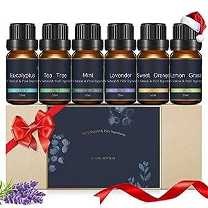Janolia Aceites Esenciales, Aceites para Humidificador, de Plantas Naturales para Aromaterapia, Set de Navidad Eucalipto, Hierba de Limón, Árbol de Té, Naranja Dulce, Menta, Lavanda
