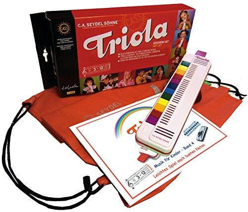 TRIOLA 12 Kompakt-Set mit Tasche für Instrument und Noten: die beliebte Blasharmonika mit farbigen Tasten für Kinder im Set mit dem neuem Triola-Kinder-Liederbuch MUSIK FÜR KINDER - BAND 4