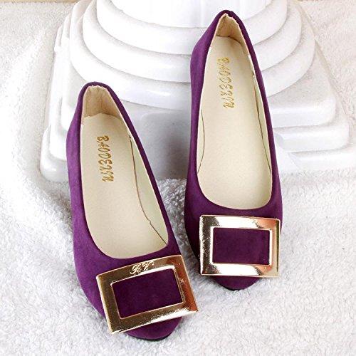 LvYuan Scarpe da donna / pelle scamosciata / ufficio & carriera / tacco piatto / comodità casual / moda casual / mocassini & scarpe da ginnastica / scarpe pigro camminate Purple