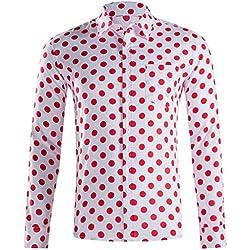 LHWY Camisa de Hombre Tops Shirt 2019 Verano Moda botón Holgado de Manga Larga con Cuello Redondo y Estampado Hawaiano Camiseta Corta Camiseta Gran tamaño Lunares Beach Hawaii Rojo M