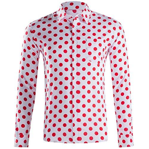 ODRD Hot Jugend Herren T Shirt Frühling Sommer Herren Baggy Beach Hawaiian Print Langarm Button Umlegekragen Shirts Tops Lässiges Weste Vest T Shirts Top Tanktop Bluse Tee t Shirts (Jugend Hawaiian Shirt)