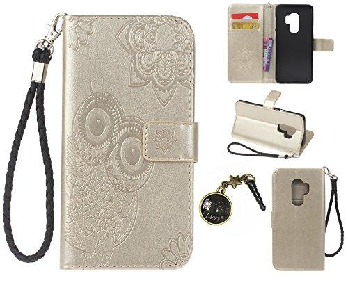 Preisvergleich Produktbild Galaxy S9 Plus S9+ Case Leder Tasche Case Hülle im Bookstyle mit Standfunktion Kartenfächer für (Samsung Galaxy S9 Plus / S9+ 6,2 Zoll 2018 Veröffentlicht) Hülle +Staubstecker (2)