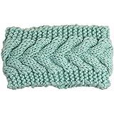 TININNA Diadema Banda Cinta de Pelo Lana Crochet Tejido de Punto para Mujer Invierno Mujer Tejer elástico caliente hairwrap diadema cinta pelo Green