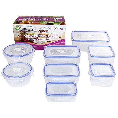 MyChoice Clip & Seal Lebensmittelbehälter Boxen 8 Sätze geeignet für Mikrowelle Gefrierfach Spülmaschine -
