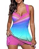 Damen Tankini Badeanzug mit Röckchen Badekleid mit Shorts Bademode Große Größen Swimsuit Pink 5XL