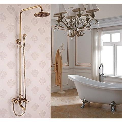 CAC Continental de cobre dorado antiguo cepillado baño ducha grifo grifos ducha de conjuntos