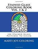 Stained Glass Coloring Book Vol. 1 & 2: 100 Stained Glass Patterns To Color