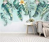 HONGYUANZHANG Nordische Einfache Frische Grüne Blätter Tapete Des Foto-3D Künstlerische Landschafts-Fernsehhintergrund-Tapete,128Inch (H) X 160Inch (W)