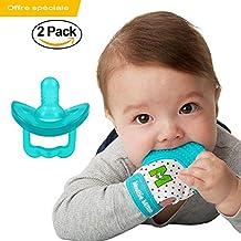 Anneau de dentition mitaine + Sucette Bébé - La tétine favorise la succion et le gant de dentition soulage les gencives de votre bébé - Pack 0 à 12 Mois