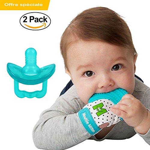 Beißring mitt + Schnuller Baby - Der Sauger fördert das Saugen und Zahnen Handschuh Ihres Babys Zahnfleisch beruhigt - Packung 0-12 Monate - Blau Türkis