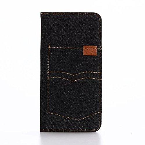"""inShang iPhone 7 Coque 4.7"""" Housse de Protection Etui pour Apple iPhone7 4.7 Inch,Coque Avec support fonction, Pochette super- utile, Wallet design with card slot Jeans pocket black"""