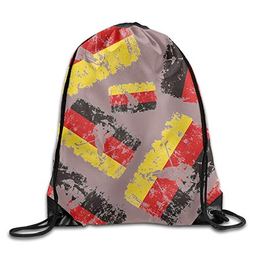 uykjuykj Tunnelzug Rucksäcke, German Flag Puck Unisex Sack Cinch Backpack Sport Drawstring Bags. Lightweight Unique 17x14 IN (German Flag Bag)