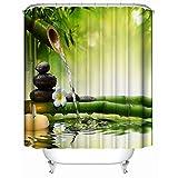 Bishilin Polyester-Stoff 3D Lustiger Duschvorhang 180x200 Bambus Badewannen Duschvorhang