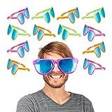 Relaxdays Partybrille, Blaue XXL-Gläser, Kostümzubehör, Karneval, JGA, Sternchen, 25cm breit, Kunststoff, Versch. Farben (12 Stück)