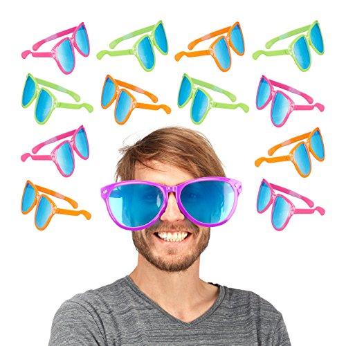 Relaxdays Partybrille, Blaue XXL-Gläser, Kostümzubehör, Karneval, JGA, Sternchen, -