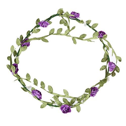Bandeau-SODIAL(R) 2 pcs Dame Boho Floral Fleur Festival Mariage Guirlande Front Bandeau Bande de cheveux - Violet