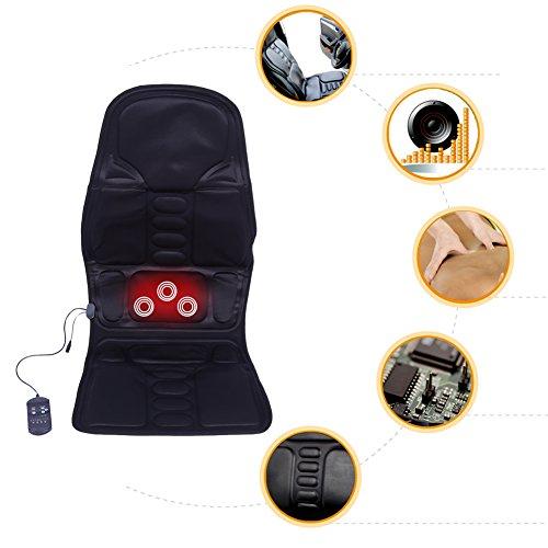 Preisvergleich Produktbild Massage-Sitzauflage,  vibrierende Massagesitzauflage mit 5 Vibrationsmotoren,  Auto Home Office Ganzkörper Rücken Hals Lendenwirbelmassage Stuhl Entspannung Pad Sitz Wärme(EU)