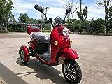 Stylisches Retro Vespa Dreirad Scooter Seniorenmobil Elektrofahrzeug Elektro Scooter ECO Roller 3 Rad Alarm 25km/h ROT