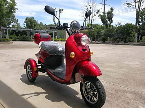 Elegante escúter eléctrico tipo triciclo recreativo, 60 V, 100 Ah, 500 W, hasta 20 mph, de Ztech®, Unisex, rojo