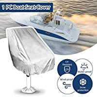 Essort Boat Seat Cover, Funda para Asiento Piloto, Folding Pedestal Boat Chair Cover, Waterproof Pontoon Captain Seat Chair Cover, poliéster UV Resistant, Grey, 56 × 61 × 64 cm