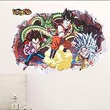 OTXA Stickers muraux Dragon Ball Sticker Mural Amovible 3D Anime Dragon Goku Végétation Murale Chambre d'enfants Décor À La Maison