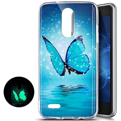 LG K8 2017 Hülle,LG K8 2017 Nacht Leuchtende Schutzhülle,Ukayfe Schmetterling Muster TPU Silikon Bumper Schutz Handy Hülle Handytasche HandyHülle Etui Schale Case Cover Tasche für LG K8 2017
