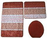 Orion Badgarnitur 3 tlg. Set 50x80 cm Terracotta WC Vorleger ohne Ausschnitt geprüft nach OEKO-TEX Standard 100