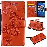 Hozor Sony Xperia Z3 Compact Handyhülle, Retro Großer Schmetterling Muster PU Kunstleder Ledercase Brieftasche Kartenfächer Schutzhülle mit Standfunktion Magnetverschluss Flip Cover Tasche, Orange