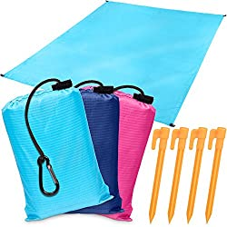 Park Ground Blanket, Sandless Beach Mat, Anti-sand Waterproof Pocket Size Tarp: Take It Anywhere Parachute Sheet For Festivals, Concerts, Picnics, Backpacking & Hiking Ultra Lightweight, Dark Blue