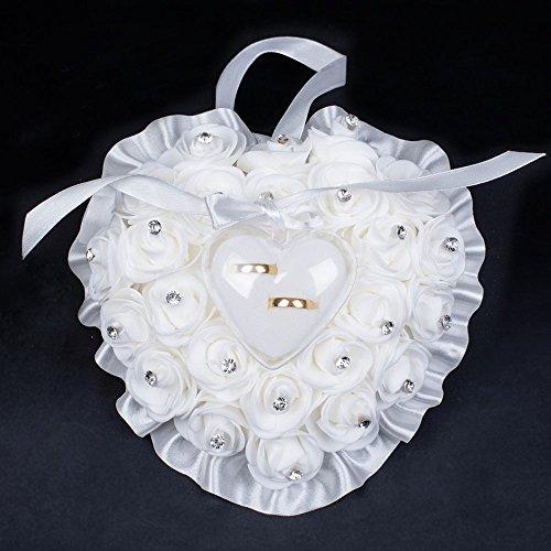 A forma di cuore di nozze anello cuscino bianco elegante rosa e decorazione di strass anello cuscino portatore box jewery case con nastro e fiocco
