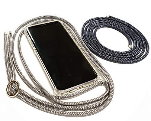 Pink Cinnamon Set Handykette mit Smartphone Hülle Plus Wechselband für iPhone XR Band: Charcoal Grey, Wechselband: Dark Blue, Metallteile: Silber