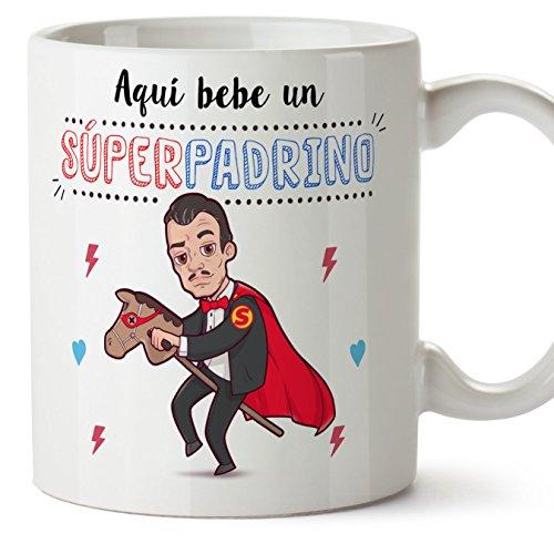 MUGFFINS Tazas para Padrino – AQUÍ Bebe UN Super Padrino – Taza D