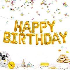 Idea Regalo - JZK Festone palloncini buon compleanno oro Happy Birthday palloncini pellicola di alluminio lettere alfabeto decorazione compleanno