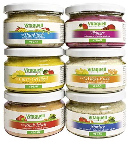 Vitaquell Vegane Salatkiste, 6 x 180 g Salate rein pflanzlich To Go (Wurst-kit)