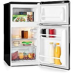Klarstein Monroe Black • combiné • look rétro • réfrigérateur 61 l • congélateur 24 l • 2 clayettes • compartiment légumes • 2 compartiments de porte • température 5 positions • 40 dB • noir