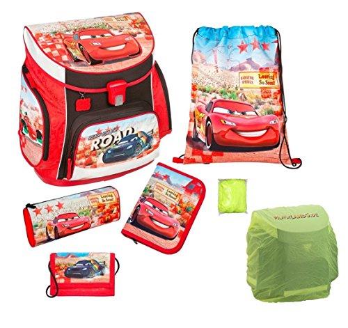 Scooli Schulranzen Set Disney Cars 6tlg. Turnbeutel, Federmappe, Geldbeutel, Regen/Sicherheitshülle gelb CAGR8252
