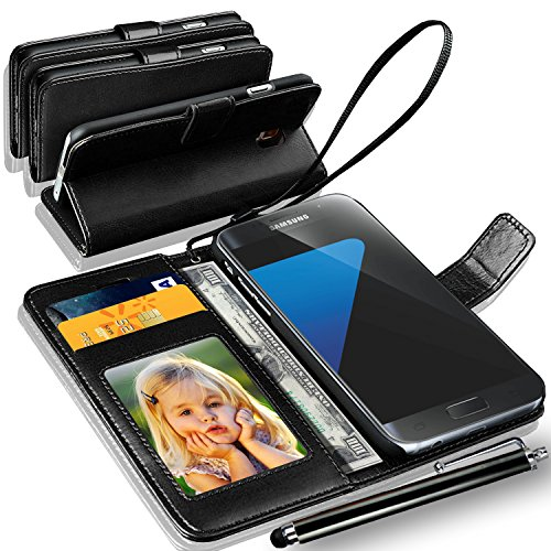N+ INDIA Rich Leather Stand Wallet Flip Cover Book Pouch Phone Bag Antique Leather Case for Samsung Galaxy S7 Edge with touch stylus pen Black