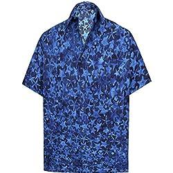 LA LEELA Fiesta en la Playa de Hawai Cuello difusión Informal de Manga Corta de los Hombres de la Camisa Hawaiana Bolsillo Delantero XXL-Pecho Contorno (in cms):137-149 Azul Marino_AA154