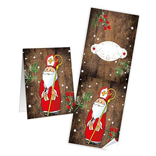 25 lange Weihnachtsaufkleber HEILIGER NIKOLAUS rot weiß braun Aufkleber Weihnachten 7 x 21 cm...