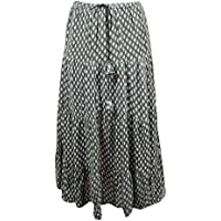 Mogul Interior Womens Bohemian Skirt Printed Crinkle Cotton Gypsy Flirty Maxi Skirts
