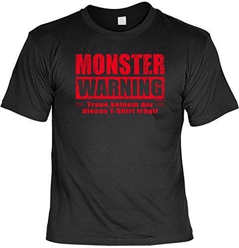 für Halloween! T-Shirt: - Monster Warning - Grusel Horror Geister Party Dead Fun Zombie Splatter ()