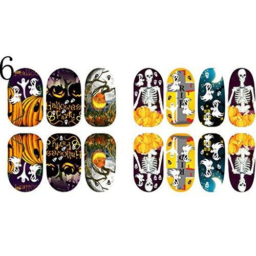 BENHAI 1PC Dekoration-reizender Nagel-Aufkleber-Hexe-Halloween-Nagel-Kunst verpackt Wasser-Aufkleber-Nagel-Kunst-Miniernagel-Dekoration (6)