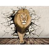 Papier peint personnalisé Hd 5D Dominateur Lion Photographie animale Toile de fond Mur Grande Murale Salon Toile de fond Papier peint pour animaux (1 Mètre carré)