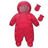 famuka Baby Schneeanzug Jungen Strampler Mädchen Overall Winter Babykleidung (Rot, 6-9 Monate)